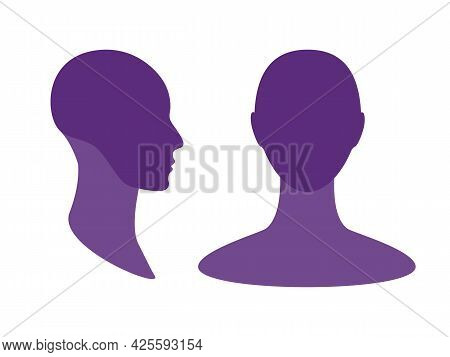 Gender Neutral Front And Side View Profile Avatar Silhouette With A Highlighted Skull And Chin Area.
