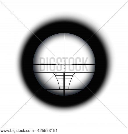 Crosshair Of Sniper Scope Viewfinder. Aiming Cross Of A Gun Optics