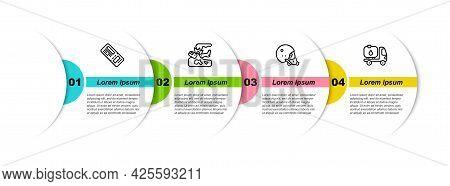 Set Line Airline Ticket, Plane Crash, Modern Pilot Helmet And Fuel Tanker Truck. Business Infographi