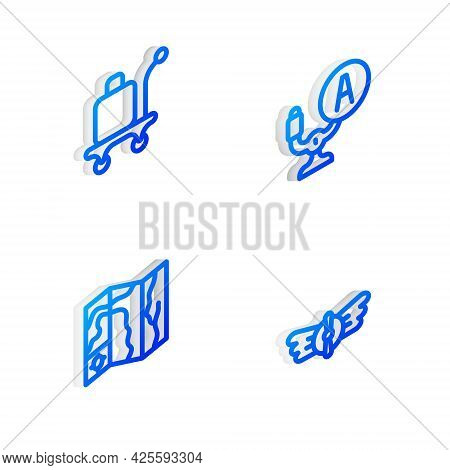Set Isometric Line Aircraft Steering Helm, Trolley Baggage, World Travel Map And Aviation Emblem Ico