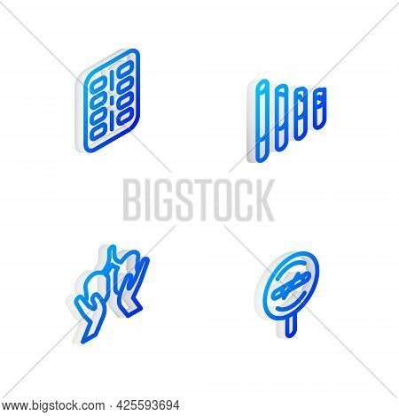 Set Isometric Line Smoking Cigarette, Nicotine Gum Blister Pack, Lungs And No Smoking Icon. Vector