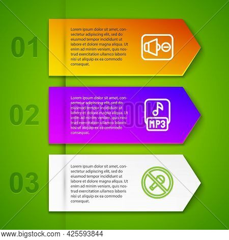 Set Line Speaker Mute, Mp3 File And Mute Microphone. Business Infographic Template. Vector