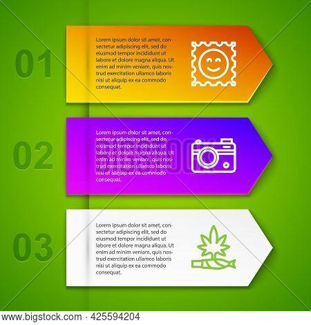 Set Line Lsd Acid Mark, Photo Camera And Marijuana Joint, Spliff. Business Infographic Template. Vec