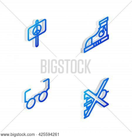 Set Isometric Line Sneakers, Peace, Glasses And No War Icon. Vector