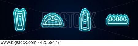 Set Line Nail Cutter, Manicure Lamp, Broken Nail And False Nails. Glowing Neon Icon. Vector