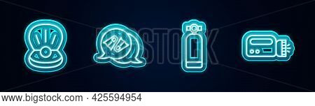 Set Line Pearl, Flippers For Swimming, Aqualung And Flashlight Diver. Glowing Neon Icon. Vector