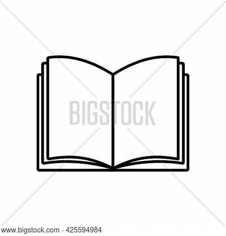 Open Book, Notebook, Simple Linear Icon Isolated On White Background. Products For School, Office, H
