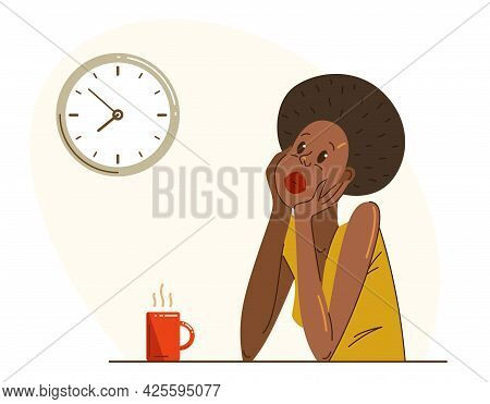 Young African Ethnicity Woman Office Worker Having Coffee Break During A Day Vector Flat Illustratio