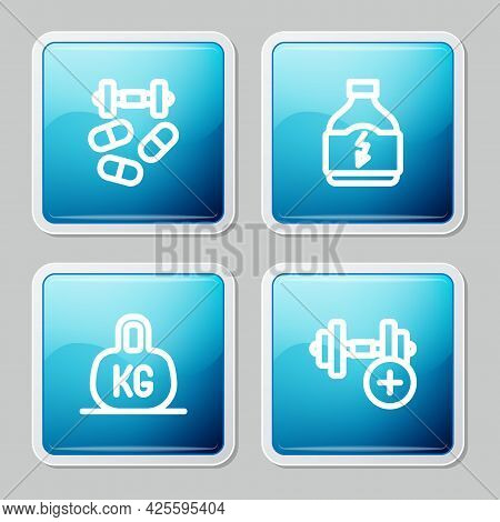 Set Line Sports Doping With Dumbbell, Nutrition, Weight And Dumbbell Icon. Vector