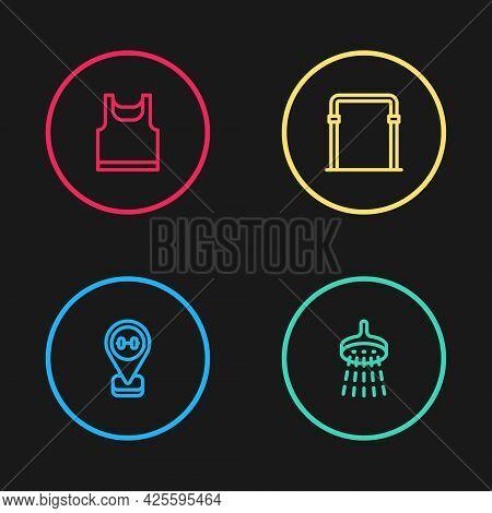 Set Line Location Gym, Shower, Sport Horizontal Bar And Sleeveless T-shirt Icon. Vector