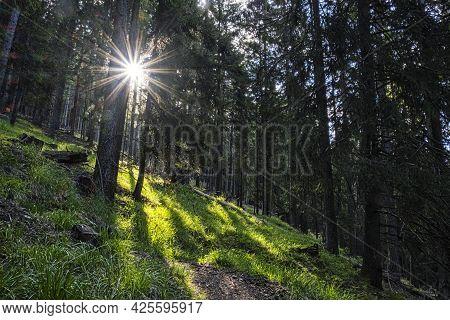 Sunrays In Western Tatras Mountains, Slovak Republic. Hiking Theme. Seasonal Natural Scene.