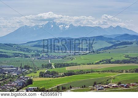 High Tatras Mountain Range From Stara Lubovna Town, Slovak Republic. Travel Destination.