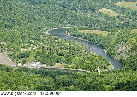 Ruzin Water Dam From Sivec Hill, Slovak Republic. Seasonal Natural Scene. Travel Destination.