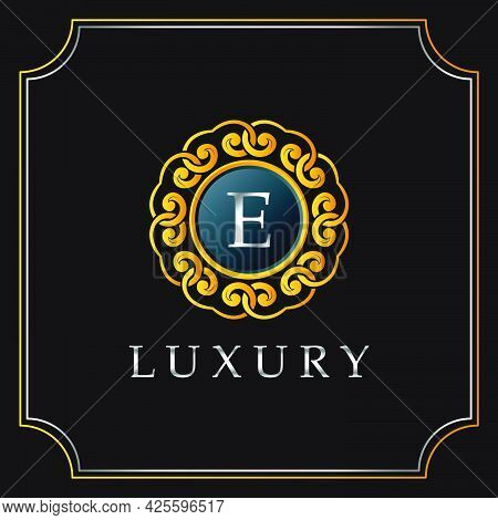 Luxury Mandala Badge E Letter Logo Design. Elegant Ornate Decoration Luxurious Logo Template.