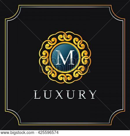 Luxury Mandala Badge M Letter Logo Design. Elegant Ornate Decoration Luxurious Logo Template.