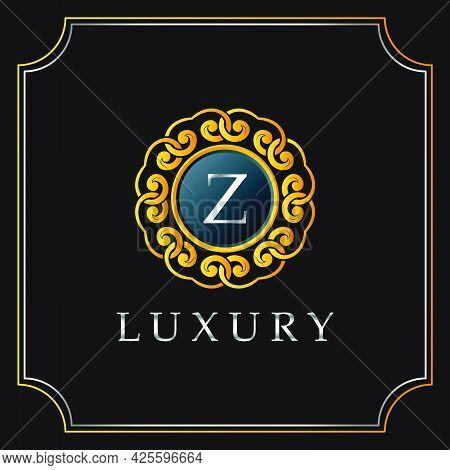 Luxury Mandala Badge Z Letter Logo Design. Elegant Ornate Decoration Luxurious Logo Template.