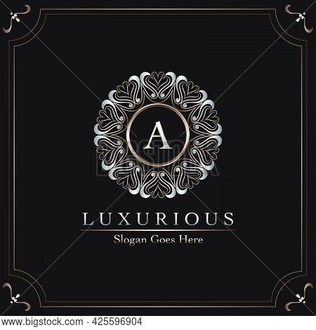 Elegance Ornate Luxury Mandala Badge Letter A Logo Design Decorative Frame Template