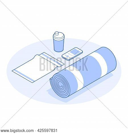 Isometric Gym Vector Illustration Yoga Practicing Equipment. Fitness Equipment Bottle Water Protein