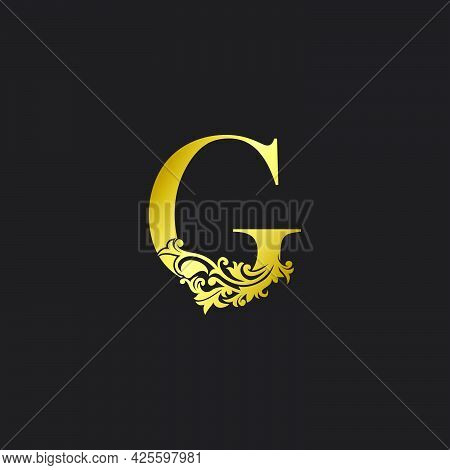 Golden Luxury  Letter G Logo Icon Template. Vector Design Ornate With   Elegant Decorative Style.