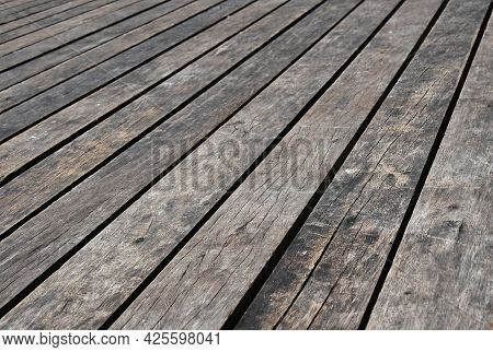 Old Vintage Rustic Aged Antique Wooden Planks Floor Surface With Gaps, Diminishing Perspective, High