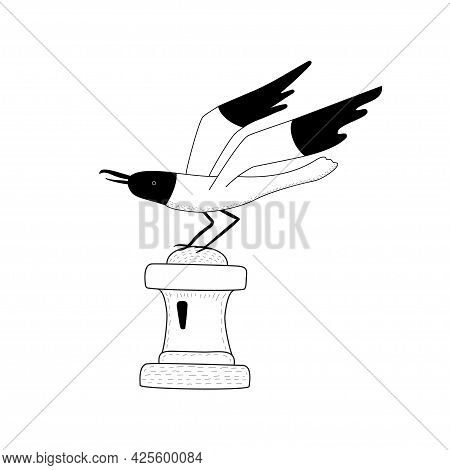 A Seagull Sits On A Buoy. Black And White Gull. Vector Illustration In Hand Drawn Linear Style.