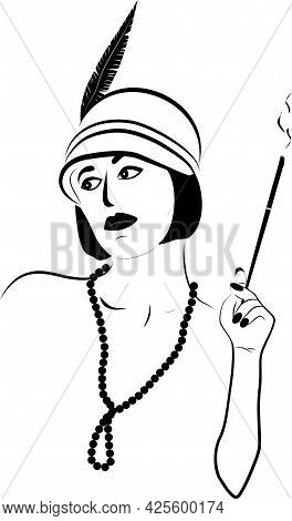 Girl With A Cigarette In A Mouthpiece In A Hat With A Feather In The Style Of The 30s With Beads. Th