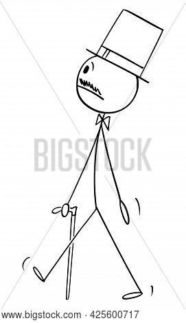 Nobleman Walking With Stick And Wearing Top Hat,  Cartoon Stick Figure Illustration