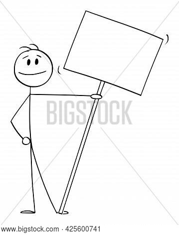 Smiling Person On Demonstration Or Manifestation Holding Big Empty Sign, Banner Or Placard ,  Cartoo