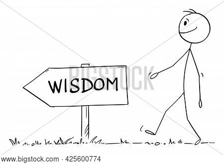 Person Walking On The Path Or Way For Wisdom,  Cartoon Stick Figure Illustration