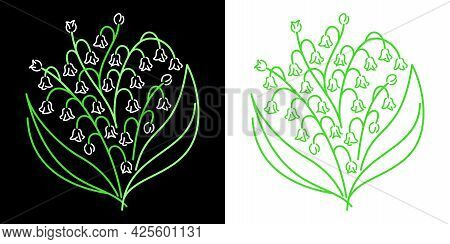 Abstract Spring Doodle Flower Lily Of The Valley Vector Illustration
