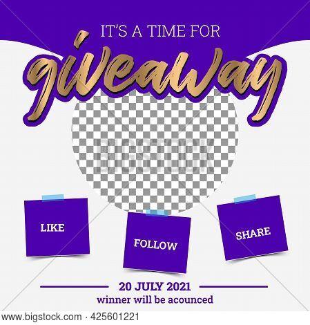Giveaway Poster Template Design For Social Media Post Or Website Banner. Gift Box Vector Illustratio