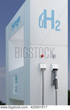 Hydrogen Gas Stations Fuel Dispenser. 3d Illustration.