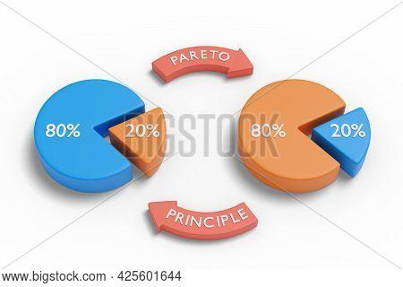 Pareto Principle With Pie Charts. 3d Illustration.