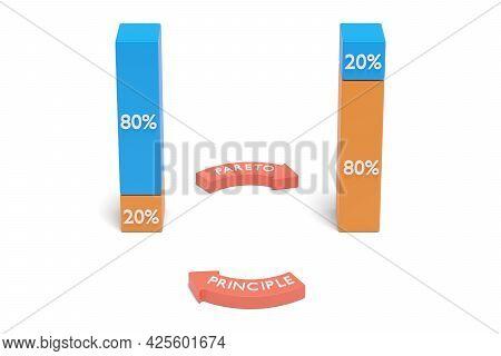 Pareto Principle With Bar Charts. 3d Illustration.