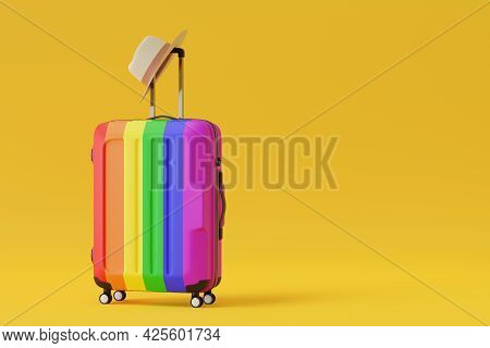Suitcase With The Colors Of The Rainbow Flag Isolated On Yellow Background Whit Copy Space. 3d Illus