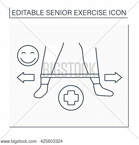Stretching Line Icon. Stretch Feet Muscle. Healthy Lifestyle. Workout.senior Exercise Concept. Isola