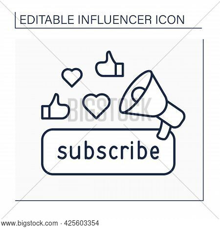 Subscribe Line Icon. Promoting Content For Audience. Subscribers Preferences. Blogging Concept. Isol