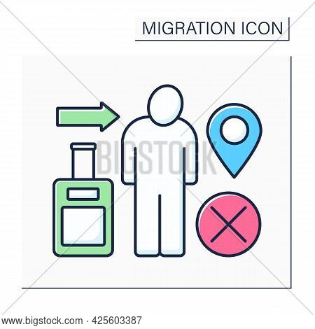 Immigration Color Icon. Relocation Ban. Troubles With Coming Back To Home Country. Migration Concept