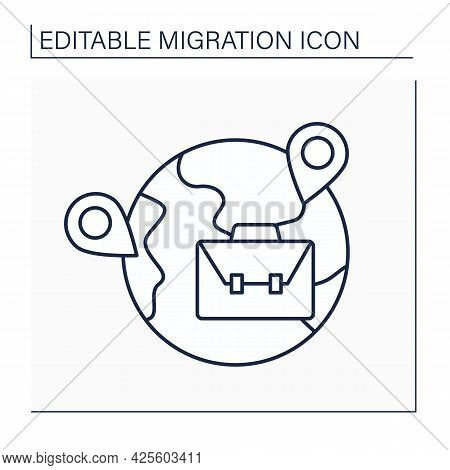 Labour Migration Line Icon. Forced Trip To Earn Money. Movement From Home State To Another Country F