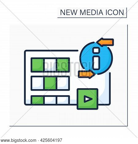 Movies Color Icon. Visual Communication. Recording Different Variations Of Films. Interesting Storie