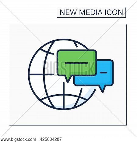Online Forums Color Icon. Real Time Conversation. Chatting. Internet Discussion Forum. Global Networ