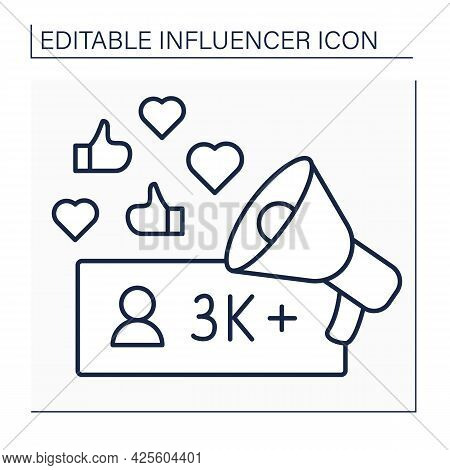 Influencer Line Icon. Micro Influencer. Blogger With Three Thousand Plus Subscribers. Low Influence
