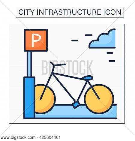 Bicycle Parking Rack Color Icon. Parking Bicycles Area. Device To Which Bicycles Can Be Securely Att