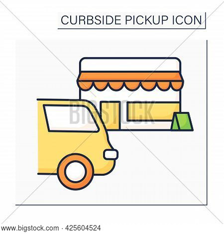 Curbside Pickup Color Icon. Safe Way To Pick Up Orders From Restaurants, Supermarkets, Stores. Parki
