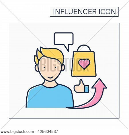 Influencer Advertising Color Icon. Social Media Marketing. Endorsements And Product Mentions. Collab