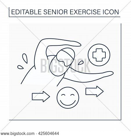 Swimming Line Icon. Positive Emotion From Training. Healthy Lifestyle. Swimming In Pool. Senior Exer