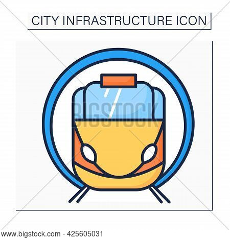 Subway Color Icon. Underground Transport. Drives Passengers To Metro Stations. Outline Drawing. Urba