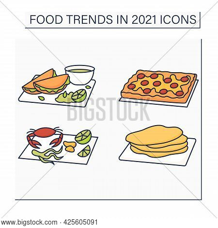 Food Trends Color Icons Set. Trendy Dishes. Birria, Detroit Style Pizza, Seafood Boils, Corn Tortill