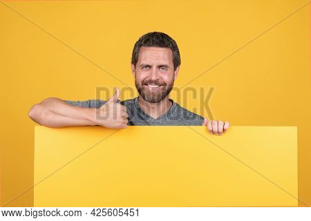 Man With Copy Space For Advertisement. Guy Advertising. Announcement. Shopping Sale Discount.