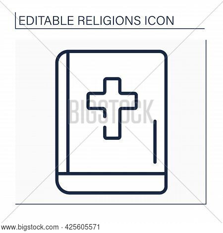 Christianity Line Icon. Bible. Main Book In Christian World. Book For Divine Services.religion Conce